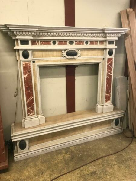 BEAUTIFUL ONYX AND MULTI COLORED MARBLE CARVED ESTATE FIREPLACE MANTEL -BF1