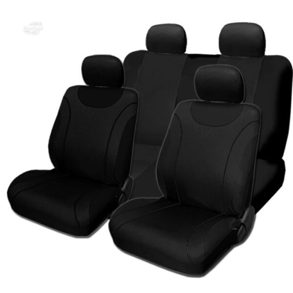 For Hyundai New Sleek Black Flat Cloth Front and Rear Car Seat Covers Set $34.97