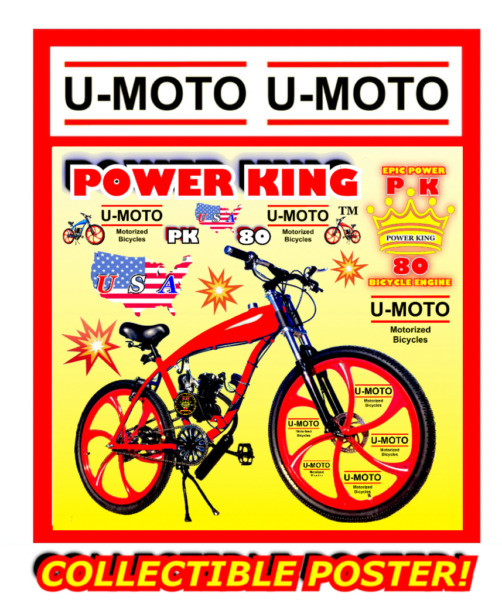 "66cc 80cc 2 STROKE MOTORIZED BIKE KIT AND 26"" BIKE DIY PROMO POSTER $29.99"