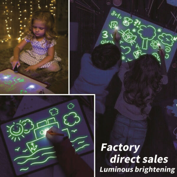 A4 Magic Luminous Drawing Board Tablet Set  Draw With Light Fun Developing Toy