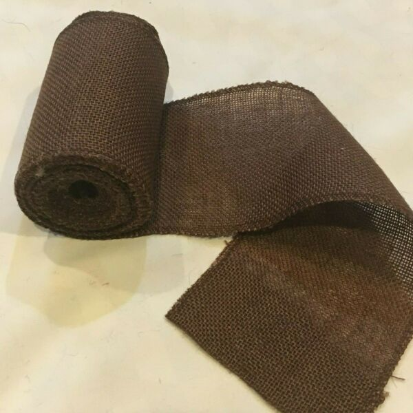 5quot; wide Brown Burlap Ribbon 10 Yard Roll 10oz 30 feet Finished Edges BS155