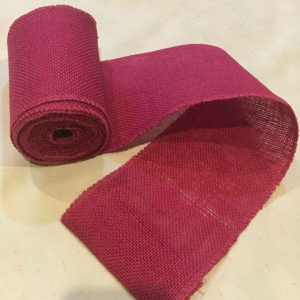 5quot; wide Pink Burlap Ribbon 10 Yard Roll 10oz 30 feet Finished Edges BS145