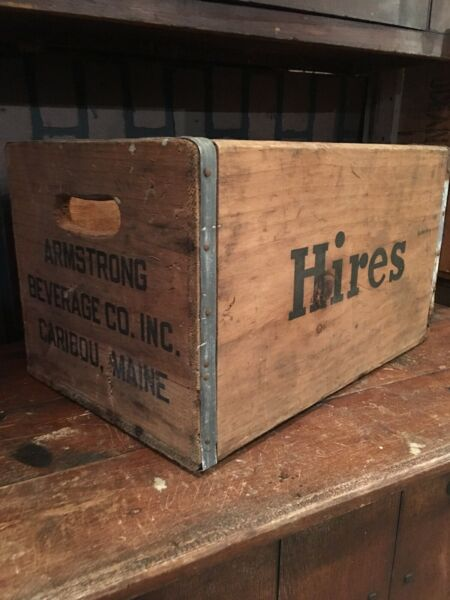Hires Root Beer Wooden Crate Shipping Box Caribou Maine ARMSTRONG BEVERAGE CO.