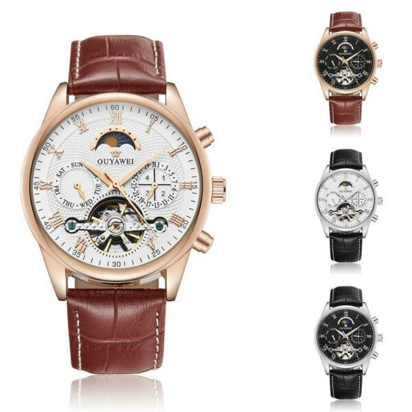 Mens Leather Stainless Steel Automatic Mechanical Wrist Watch Waterproof