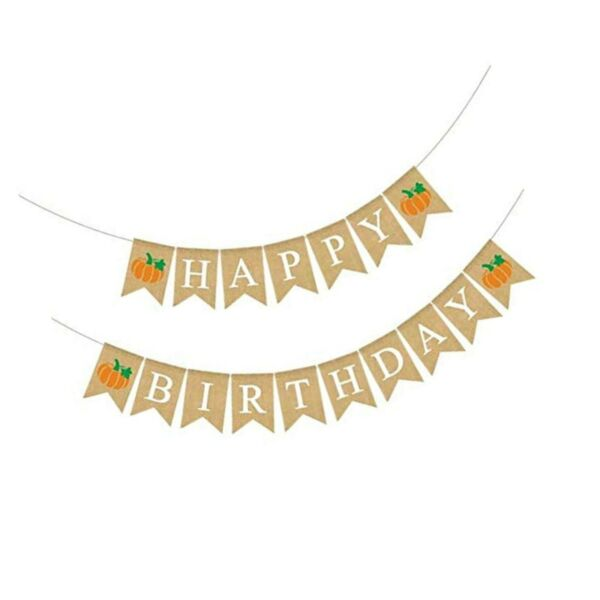 Rainlemon Jute Burlap Happy Birthday Banner with Pumpkin Rustic Fall Autumn B...