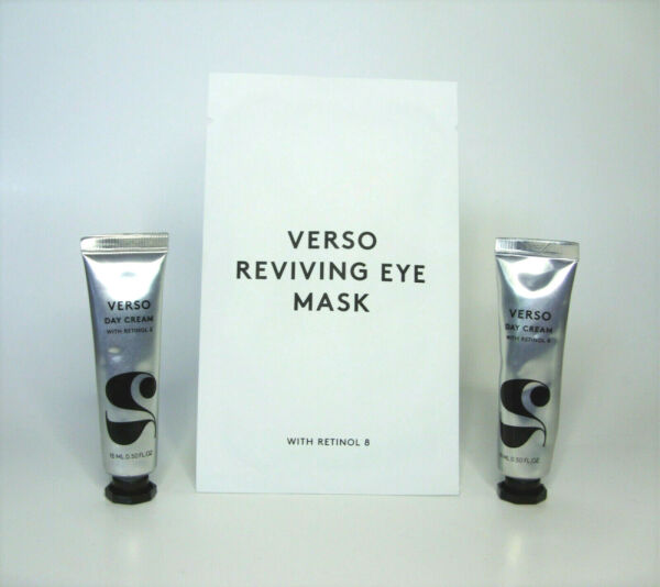 3 pc Lot Verso REVIVING EYE MASK + Retinol 8 DAY CREAM 1.10 oz Brand New!