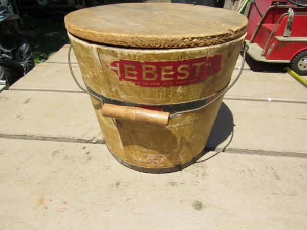 Antique  Vintage Small Yellow Wood Bucket Original Wire Wood Handle with Lid