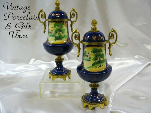 Antique French Style Cobalt & Gilt wBronze Mounted Mantle Urns 9