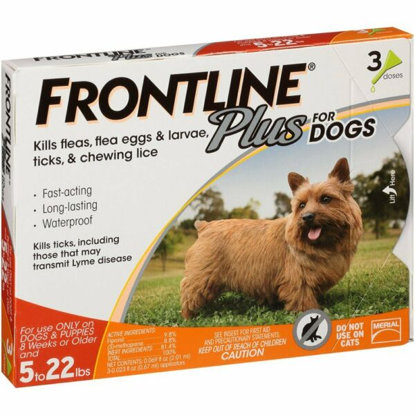 Merial Frontline Plus Flea and Tick Control for 5-22 Pound Dogs 3 pack