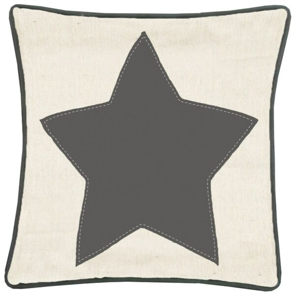 NEW 12quot; Throw Pillow Stitched Star Panel Farmhouse Burlap Home Couch Decor