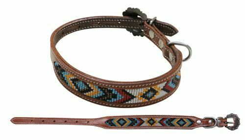 Showman Couture Beaded 1quot; Wide Leather DOG COLLAR with Copper Buckle $19.95