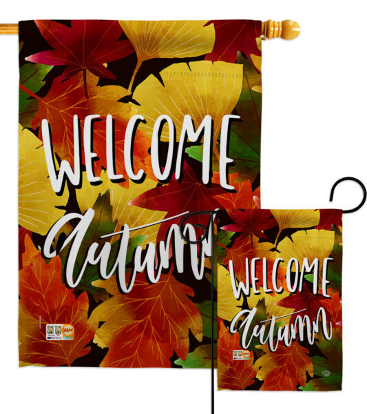 Welcome Autumn Leaves-Fall Harvest & Garden Yard Banner House Flag