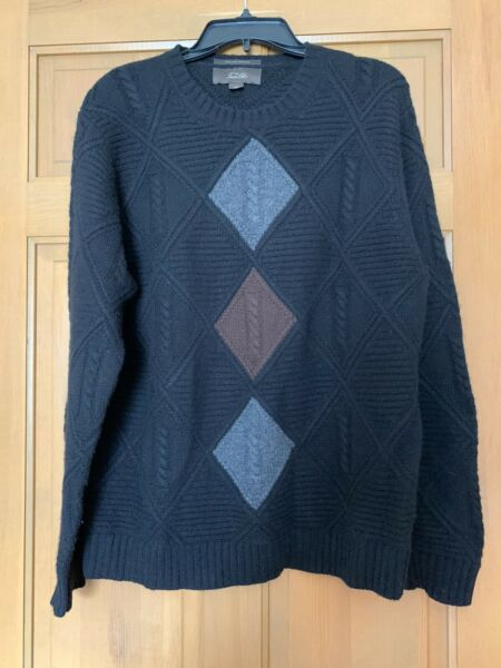 Tasso Elba Men's Sweater Pullover Size M 100% Fine Cashmere Very Warm Black