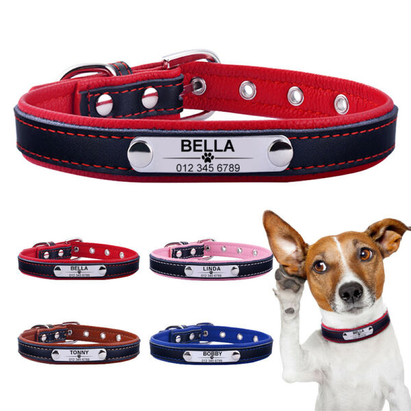 Leather Personalized Dog Collar ID Tag Custom Engraved Name Small Medium Large $4.99