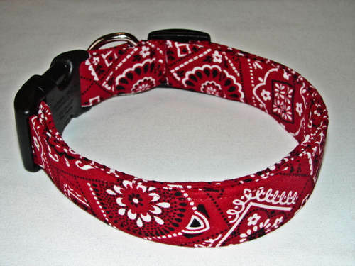 Charming Red amp; Black Bandana Dog Collar $10.99
