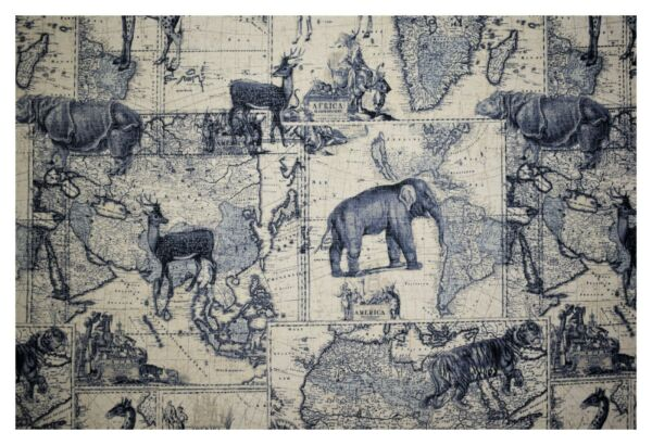 Richloom Indigo Safari Expedition Printed Linen Drapery Upholstery Fabric 54quot;W