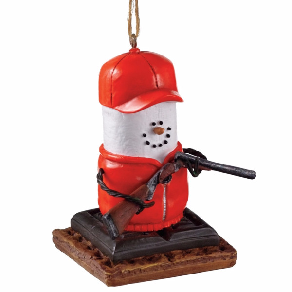 Midwest-CBK – S'more Marshmallow Ornament – Orange Hi Vis Hunter with Rifle