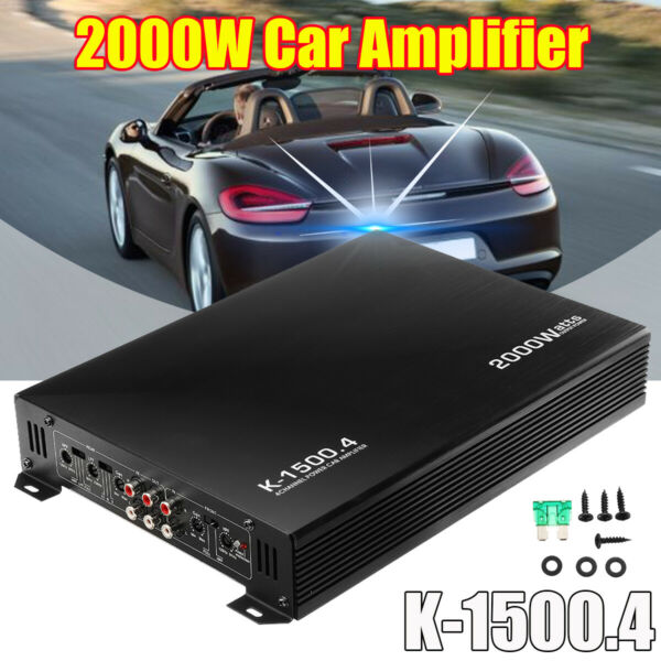 2000W Watt 4 Channel Class AB Car Audio Power Amplifier AMP Stereo For Subwoofer