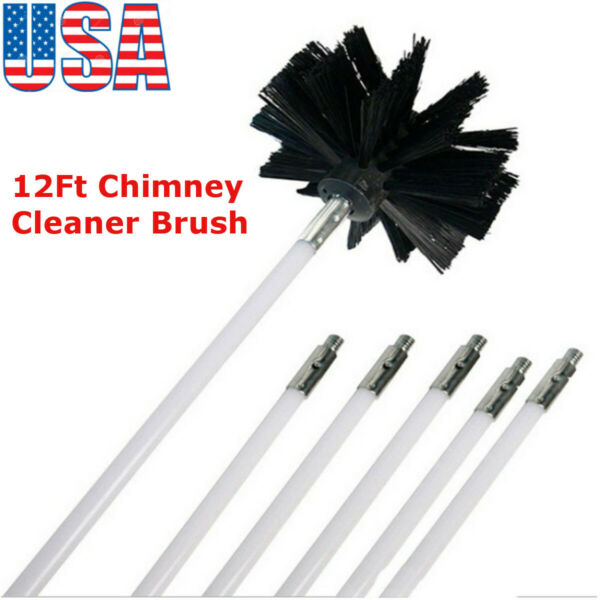 12Ft Chimney Cleaner Brush Cleaning Rotary Sweep System Fireplace Kits Rod US