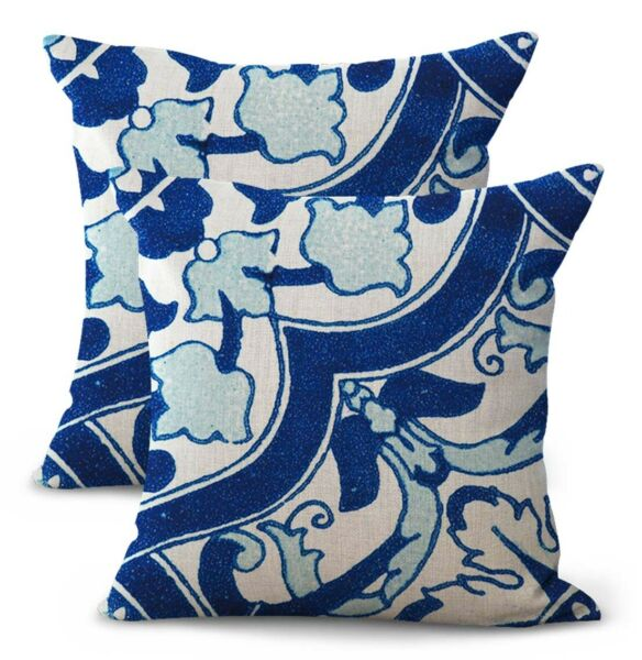 set of 2 patio furniture cushion covers Spanish Mexican talavera $21.96