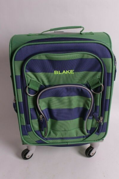 Pottery Barn Kids Fairfax Rugby Spinner Luggage small suitcase green blue Blake