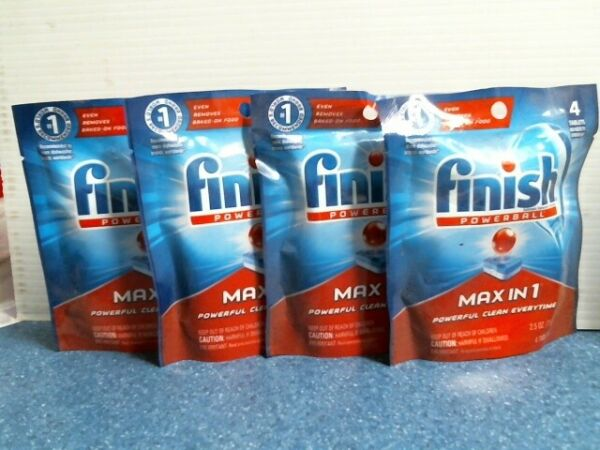 Finish Powerball Max-in-1 Automatic Dishwasher Detergent Lot of 4 FREE SHIP