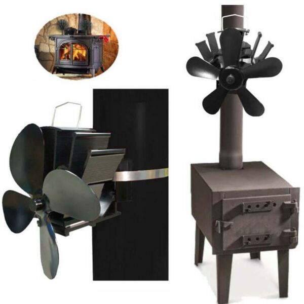 Heat Powered 45 Blade Stove Fan Low Noise Fire Place Fuel Saving Wall Thermal