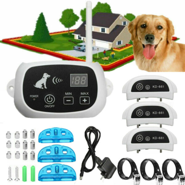 Wireless Electric Dog Fence Pet Containment System Shock Collars For 1 2 3 Dogs