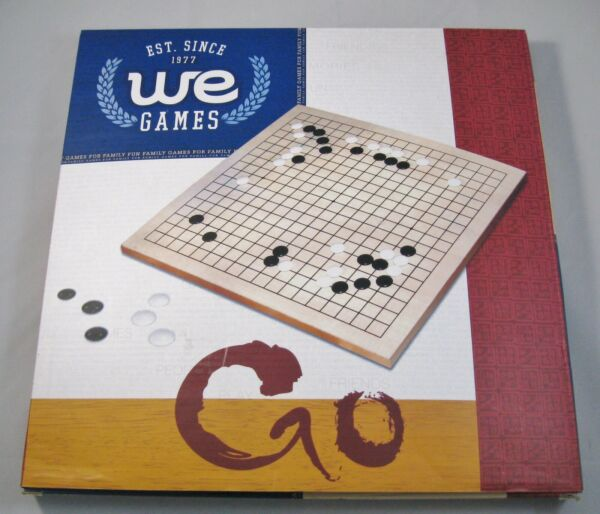GO Game Wood Board w Pieces and Directions Strategy 2 Players Ages 6