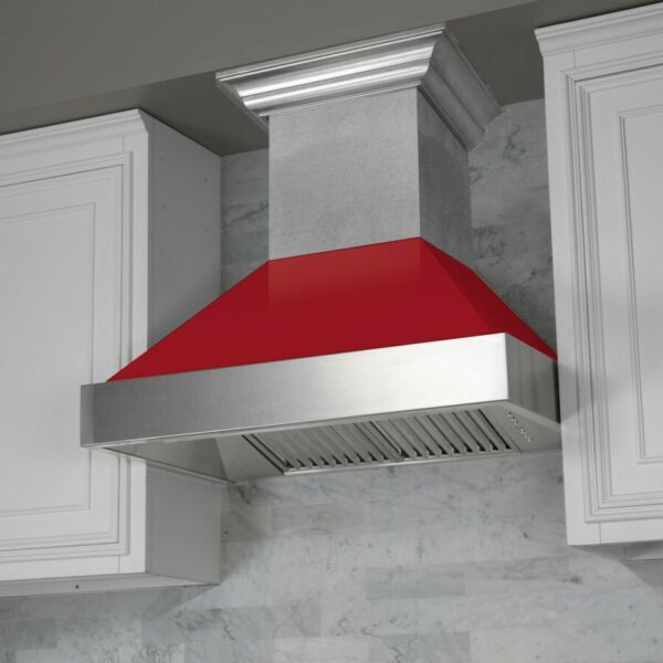 ZLINE 42quot; NEW SNOW STAINLESS STEEL RED GLOSS SHELL WALL RANGE HOOD 8654RG 42
