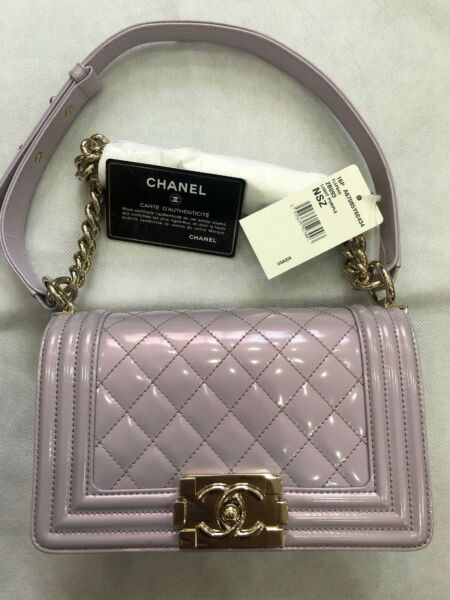 CHANEL Small Boy Bag Light Purple Quilted Patent Leather With Gold Hardware -NEW