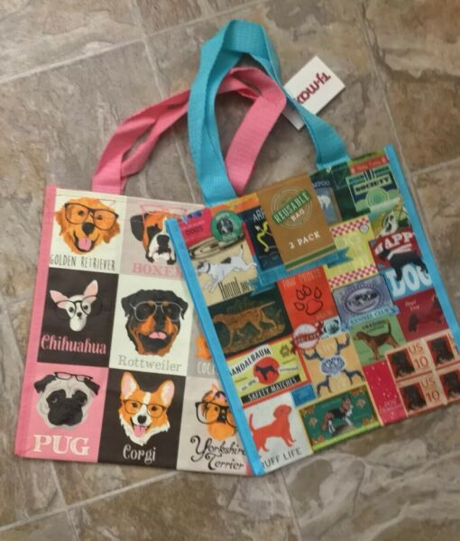 NEW TJ Maxx Shopping Bags 2 Pack Puppy Dogs Reusable Travel Tote NWT