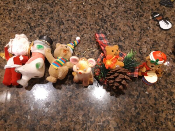 Lot of 6 Vintage Christmas Tree Ornaments Flocked Blow Mold Hard Plastic