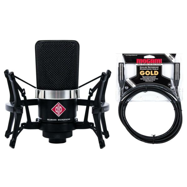 Neumann TLM 102 Studio Set Black w Premium 15-foot XLR Mogami Gold Cable Bundle