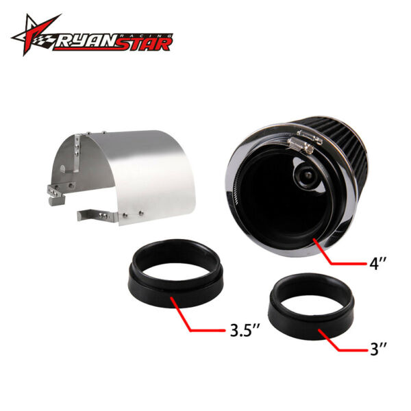 4'' Air Filter Intake Round Cone With Heat Shield Stainless Steel Cover Silver