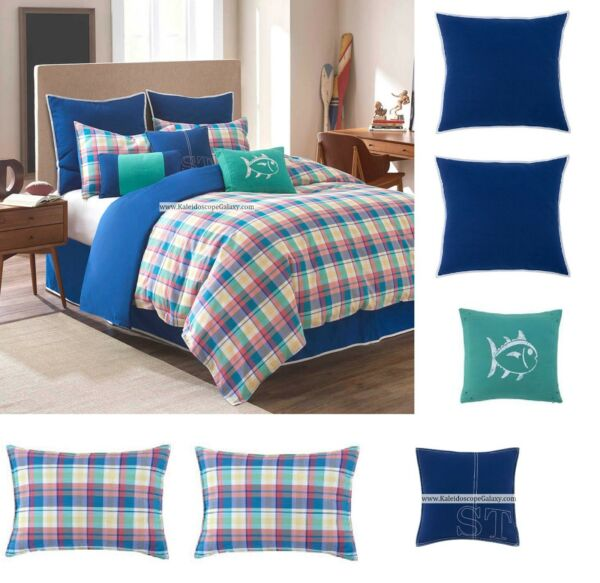 7pc Southern Tide PREP School Plaid ~ FULLQUEEN DUVET COVER  BLUE YELLOW GREEN