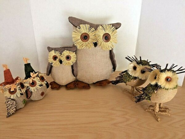 Lot of (6) Owls Figurines Burlap Autumn Harvest Sculpture Fall Decor