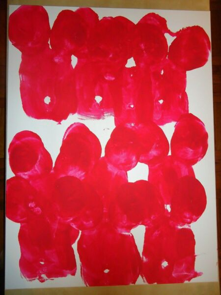 '' SYMPHONY IN RED ''  HUGE 30'' X 40'' CANVAS ABSTRACT PAINTING BY JAMES CHEN