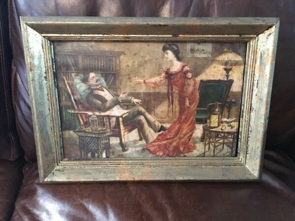 AUTHENTIC ANTIQUE YELLOW LABEL WHISKEY ADVERTISING TIN SIGN FRAMED RARE STUNNING