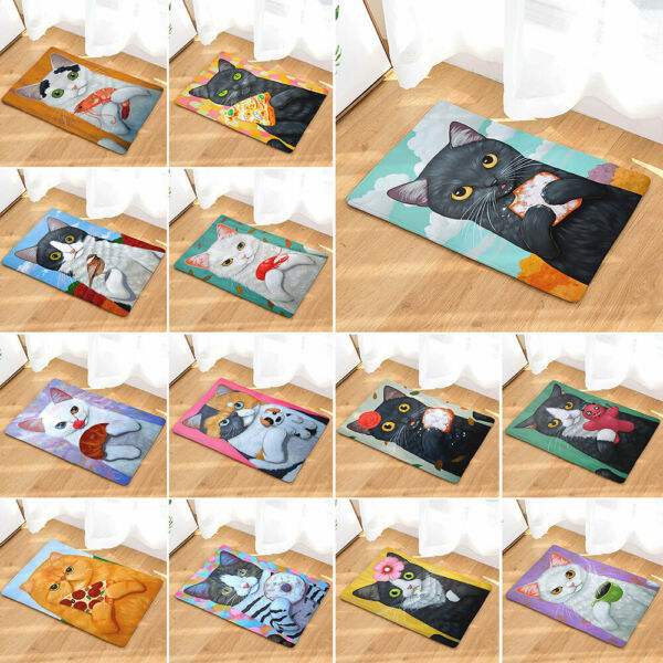 Cute Cat Modern Washable Indoor Outdoor Mats Non Slip Kitchen Hall Door Mat Rugs