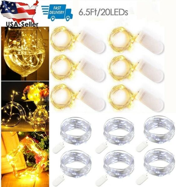 Lot 2M 20 LEDs Battery Operated Mini LED Copper Wire String Fairy Lights Gift