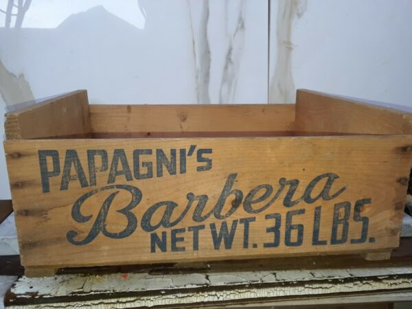 Vintage Grape Wooden Produce Fruit Crate PAPAGNI'S BARBERA