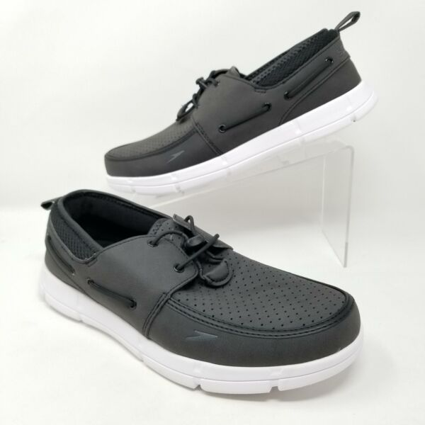 Speedo Port Mens Water Boat Shoes Bungee Laces Lightweight Black Sizes 8 12