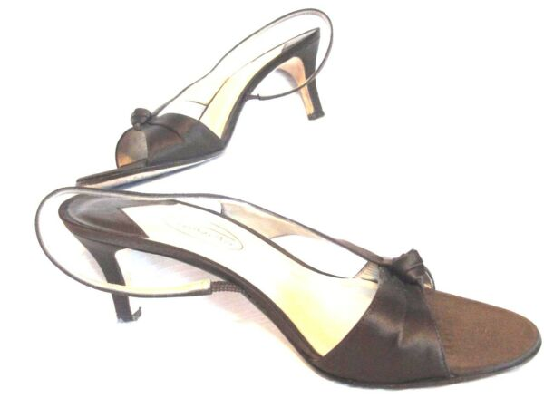 TALBOTS Size 7.5AA Brown Satiny Leather Sole Medium Heels Shoes Sandals Pumps $24.67