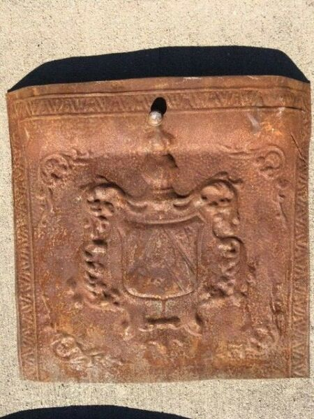 vintage fireplace cover great details knight shield and crest pressed tin
