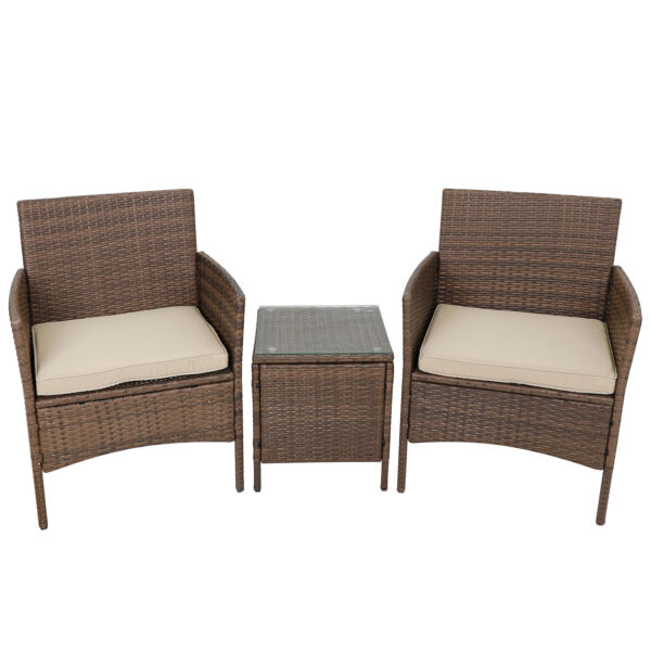 3pcs Outdoor Patio Bistro Set PE Rattan Wicker Furniture Conversation W Cushion $116.74