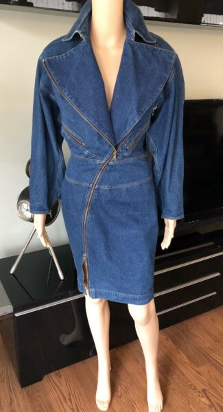 Azzedine Alaia 1980's Vintage Motorcycle Denim Coat Dress