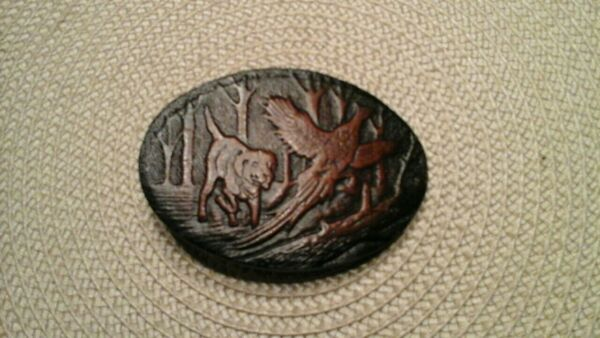 GREAT AMERICAN LEATHER BELT BUCKLE DOG HUNTING PHEASANT $17.00