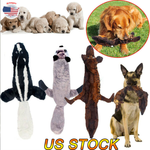 Dog Puppy Plush Squirrel Squeaker Toys Pet Squeaky Sound Play Chew Toys Training
