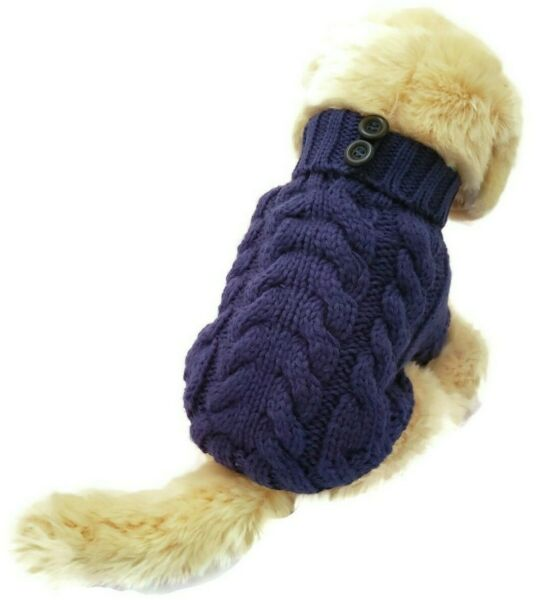 Handmade Dog Warm Sweater Blue Pet Knitted Clothes Winter Apparel Puppy Perro $14.95